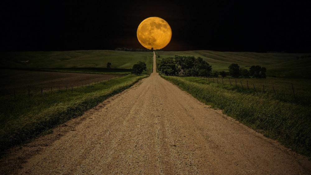Supermoon over the dirt road  wallpaper