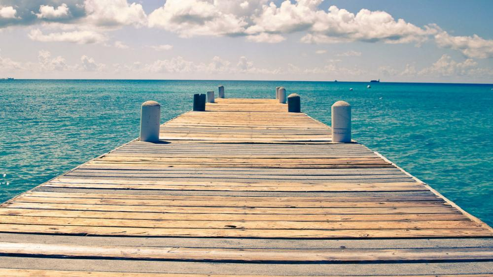 Sunny endless ocean dock view wallpaper