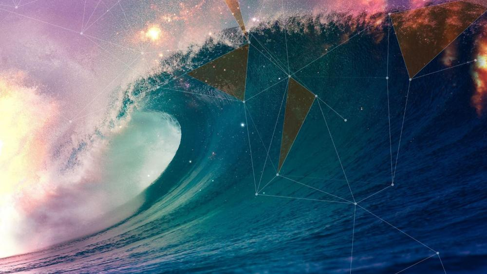 Starry sky above the ocean wave - Abstrac art wallpaper