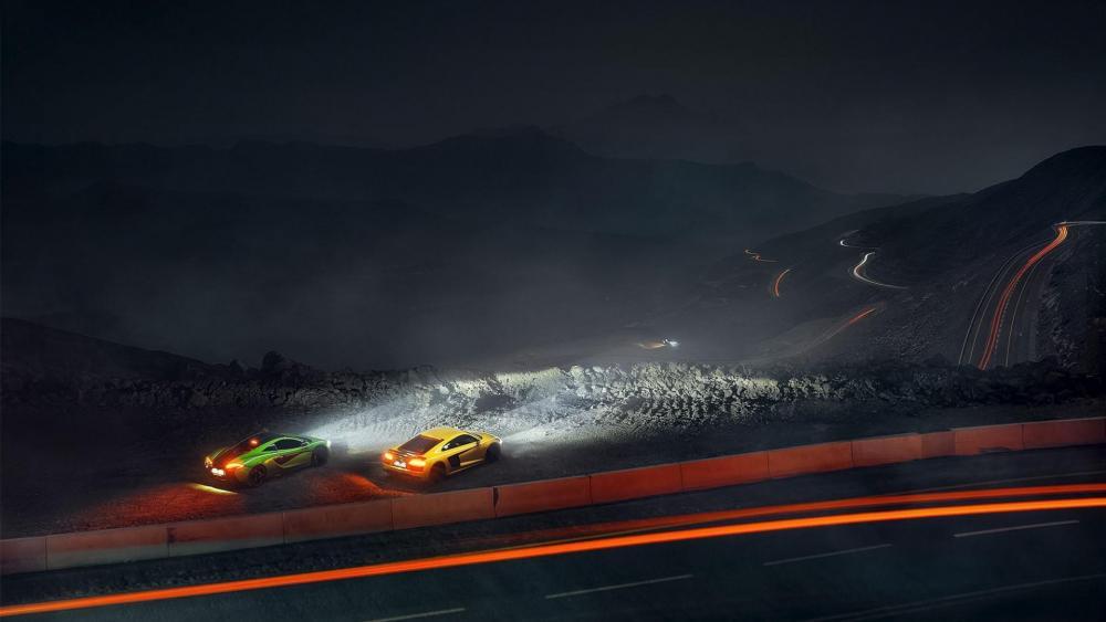 Audi R8 and McLaren P1 at night wallpaper