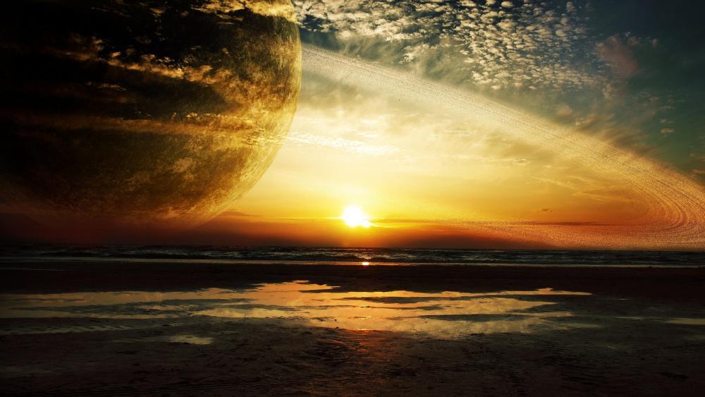 Huge planet on the sky wallpaper
