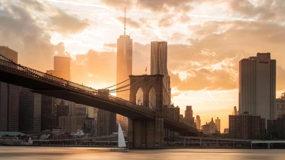 Brooklyn Bridge in the morning lights wallpaper