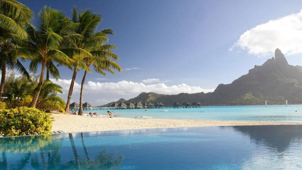Mount Otemanu view from the beach - Bora Bora wallpaper