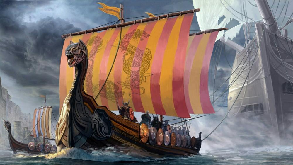 Viking dragon ships artwork wallpaper