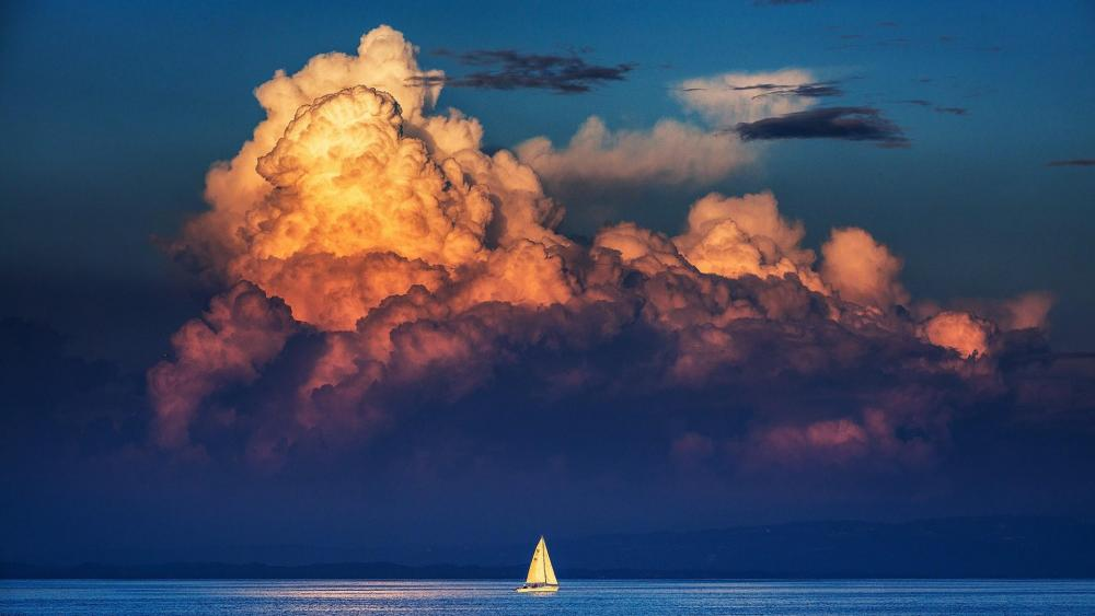 Lonely sailboat on the calm water wallpaper