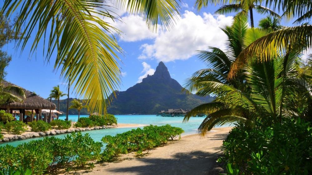 Mount Otemanu view from an exotic resort - Bora Bora   wallpaper