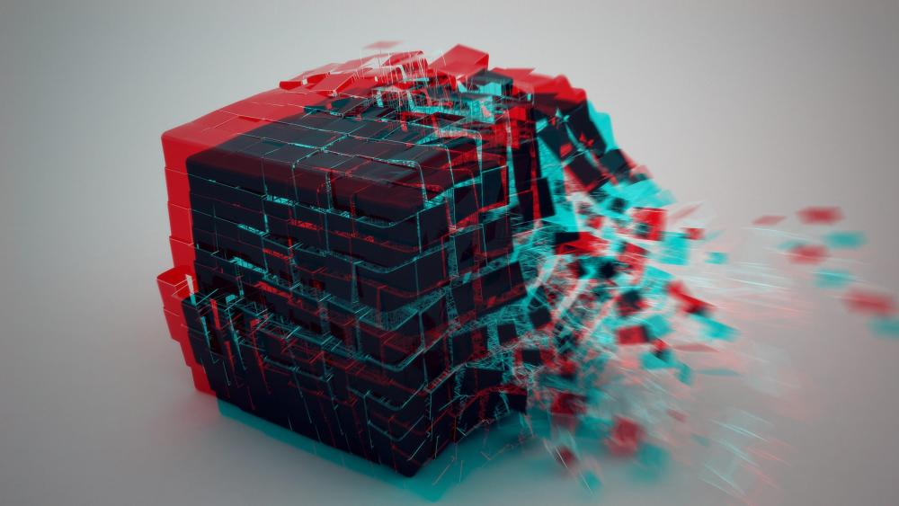 3D cube burst wallpaper