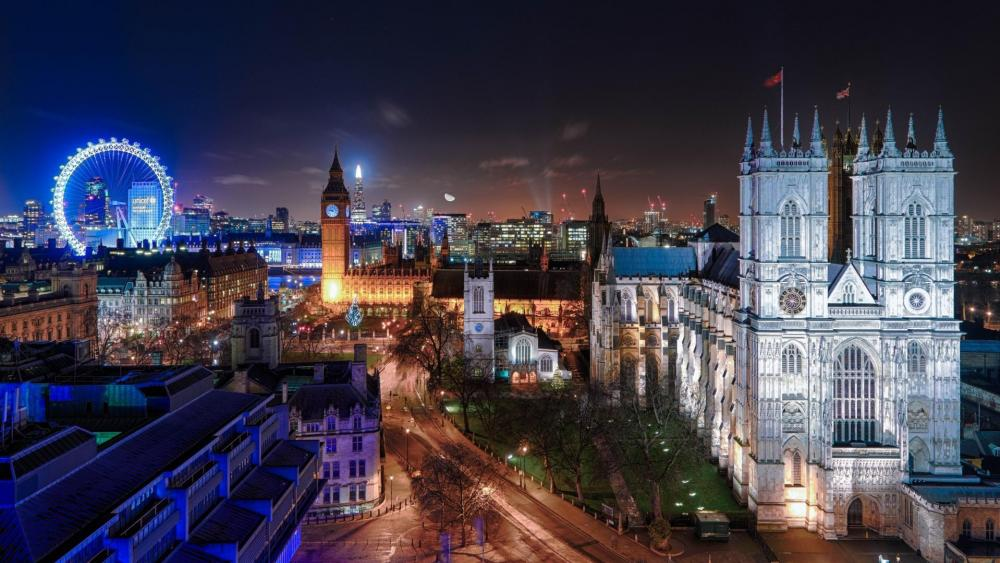 Westminster Abbey at night, London wallpaper