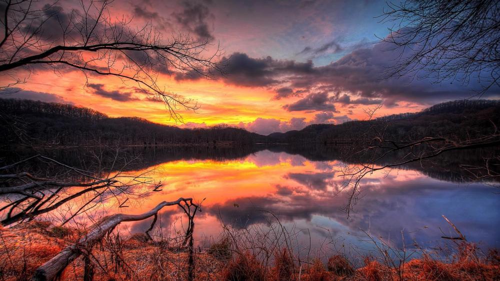 Autumn lake reflection wallpaper