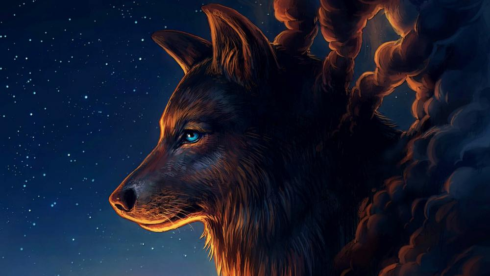 Wolf with starry sky - Fantasy art wallpaper