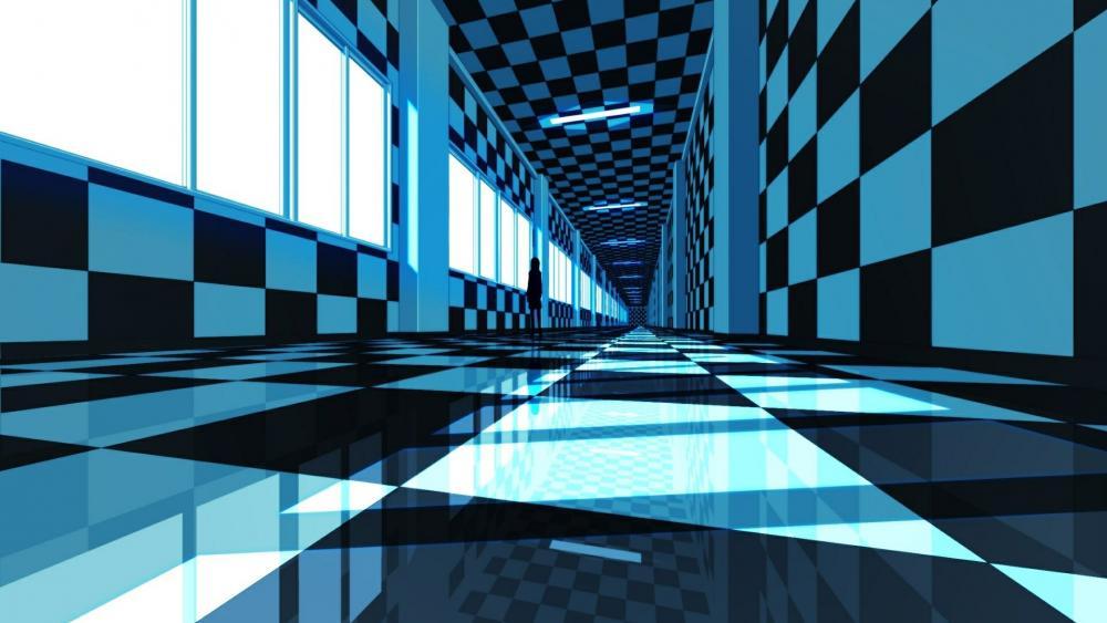 3D blue corridor anime art wallpaper