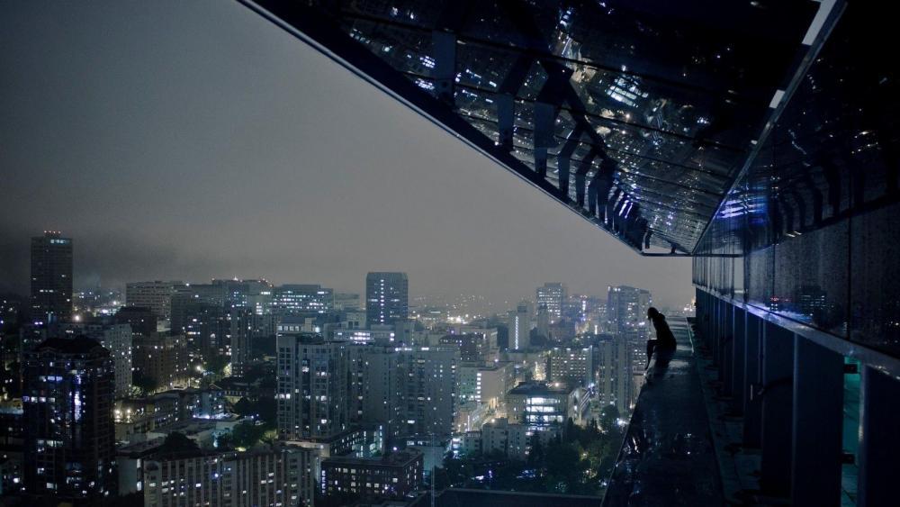 Night cityscape from a skyscraper wallpaper