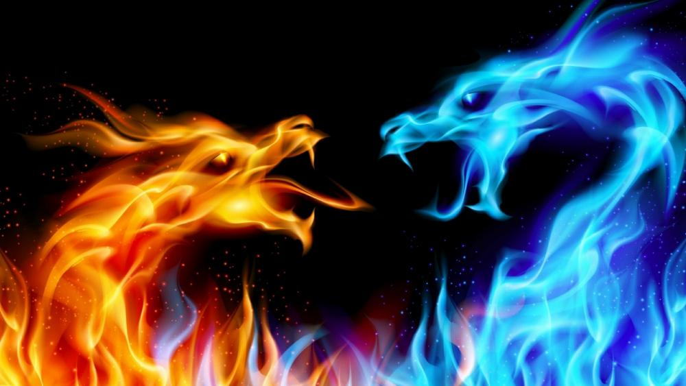 Ice and fire dragons fight wallpaper