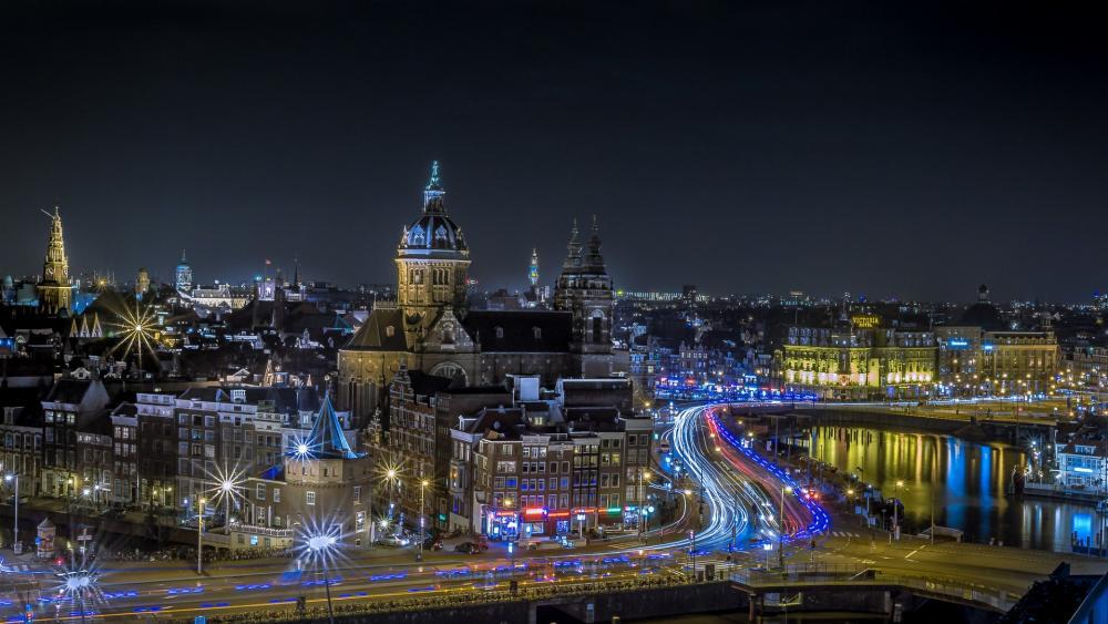 Lights of Amsterdam at night wallpaper