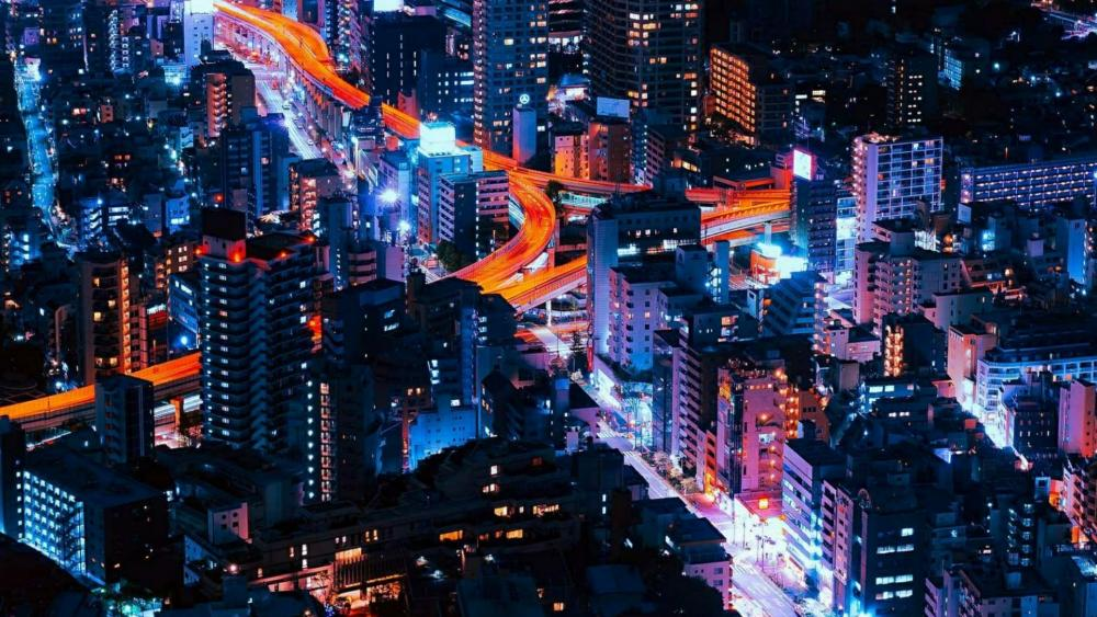 Beautiful Tokyo city lights wallpaper
