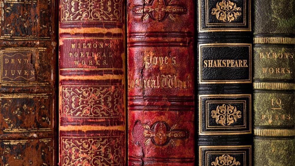 Antique books wallpaper