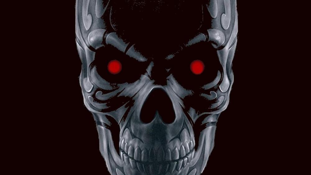 Red-eyed skull wallpaper