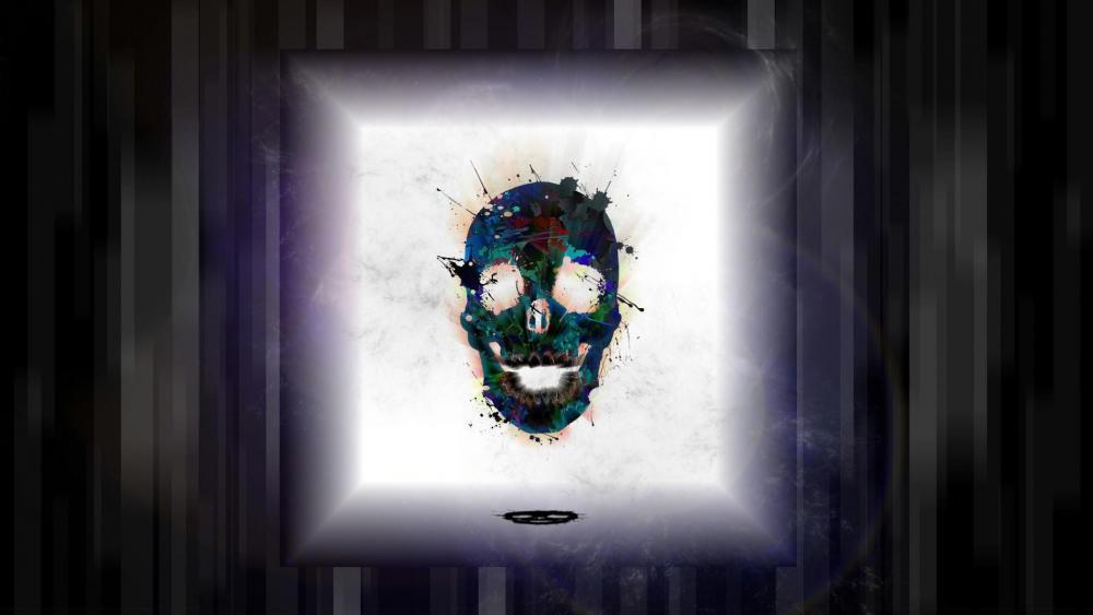 Retro skull digital art wallpaper