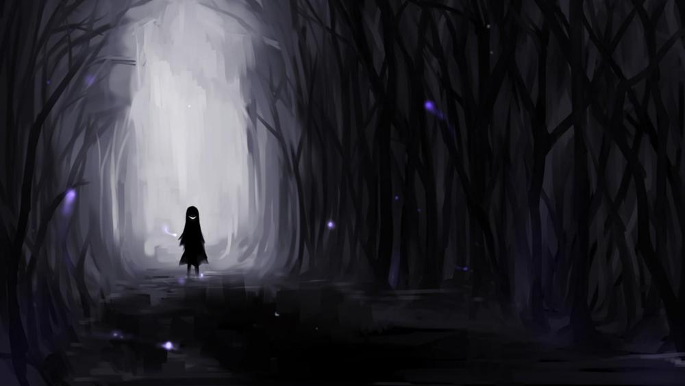 Alone in the dark forest wallpaper