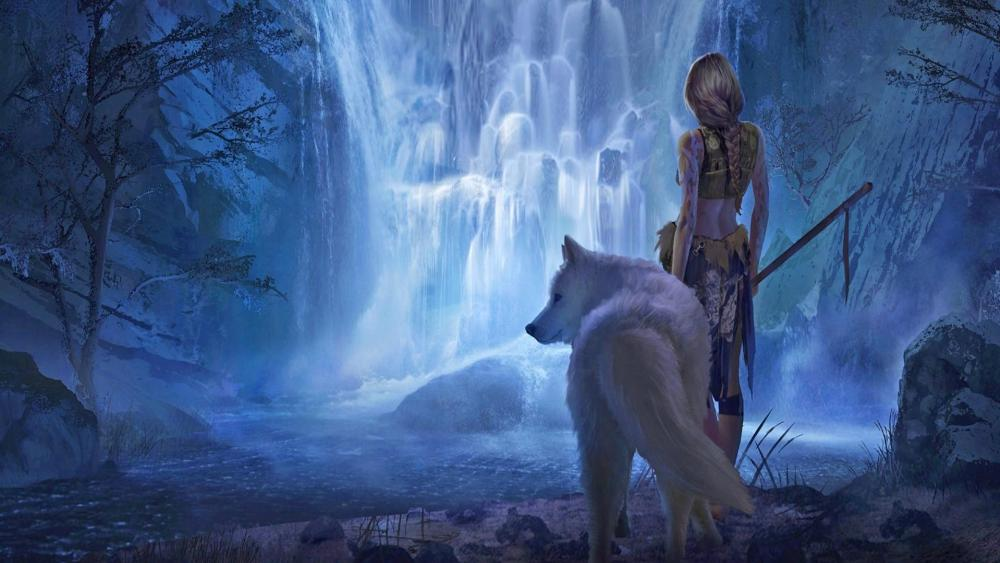 White wolf with a warrior girl at the waterfall - Fantasy Art wallpaper