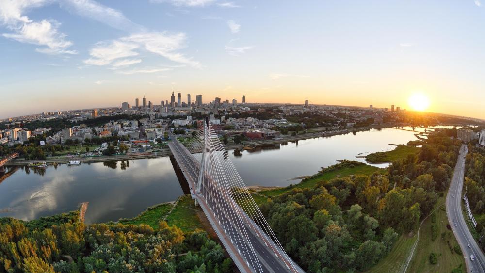 Warsow and the Vistula River - Poland wallpaper