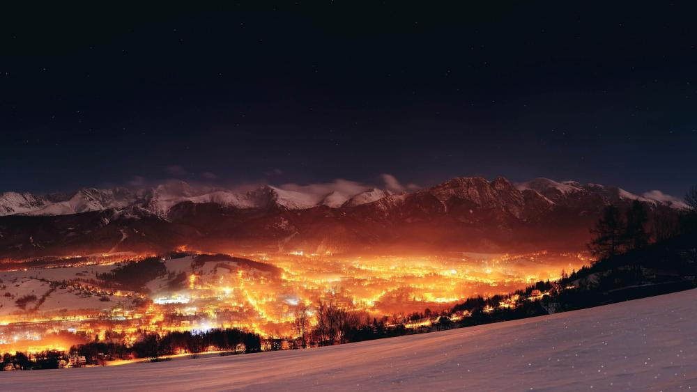 Zakopane and the High Tatras at night wallpaper