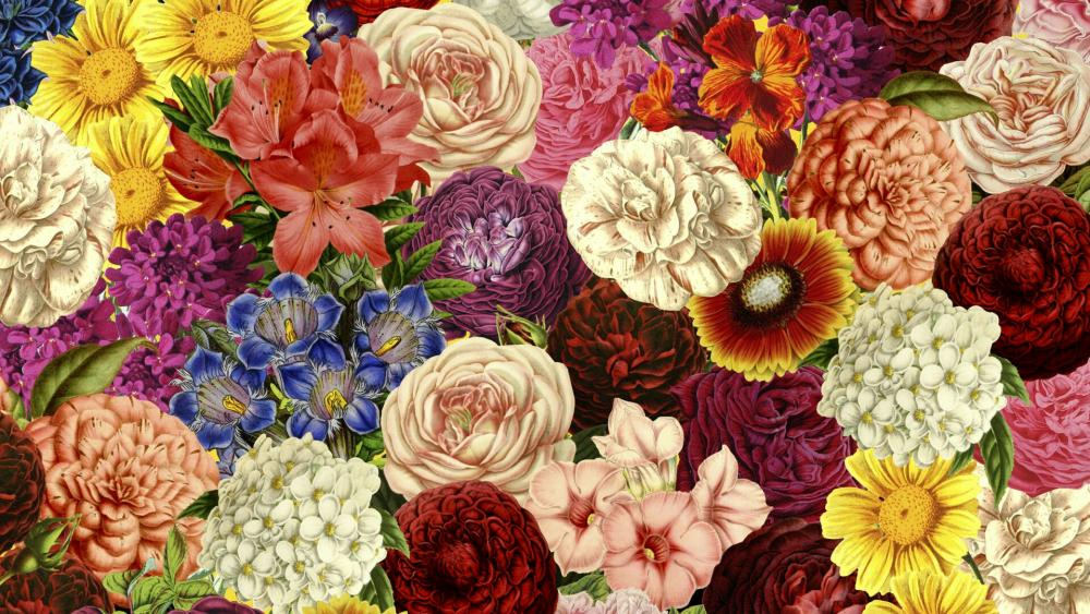 Flower montage wallpaper