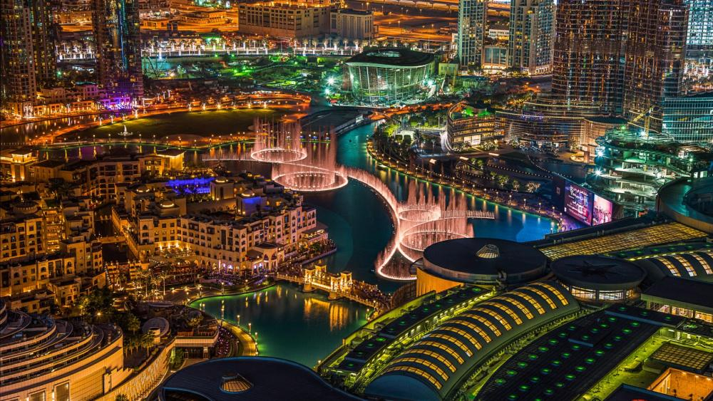 The Dubai Fountain show view wallpaper