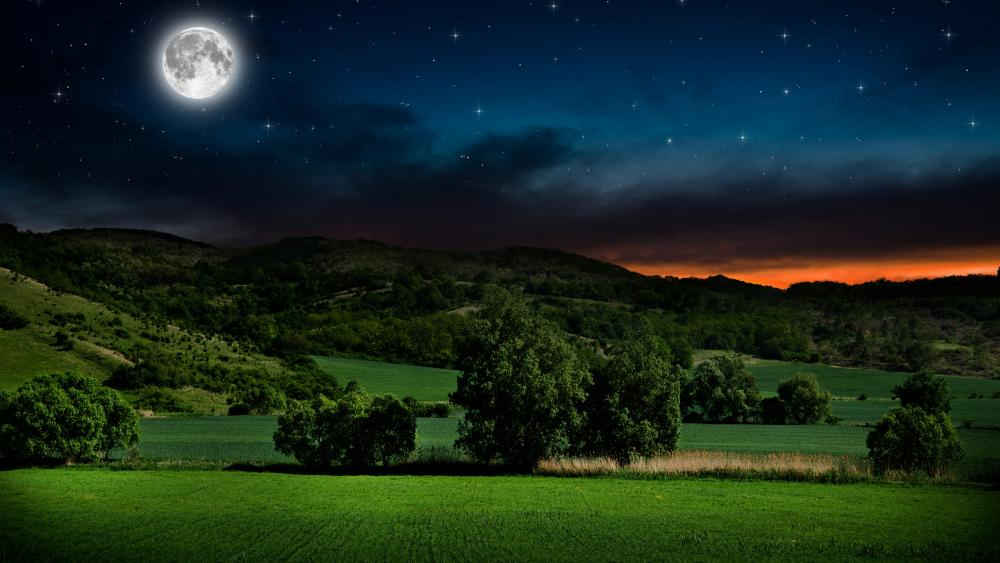 Full moon on the starry sky above the green hills wallpaper