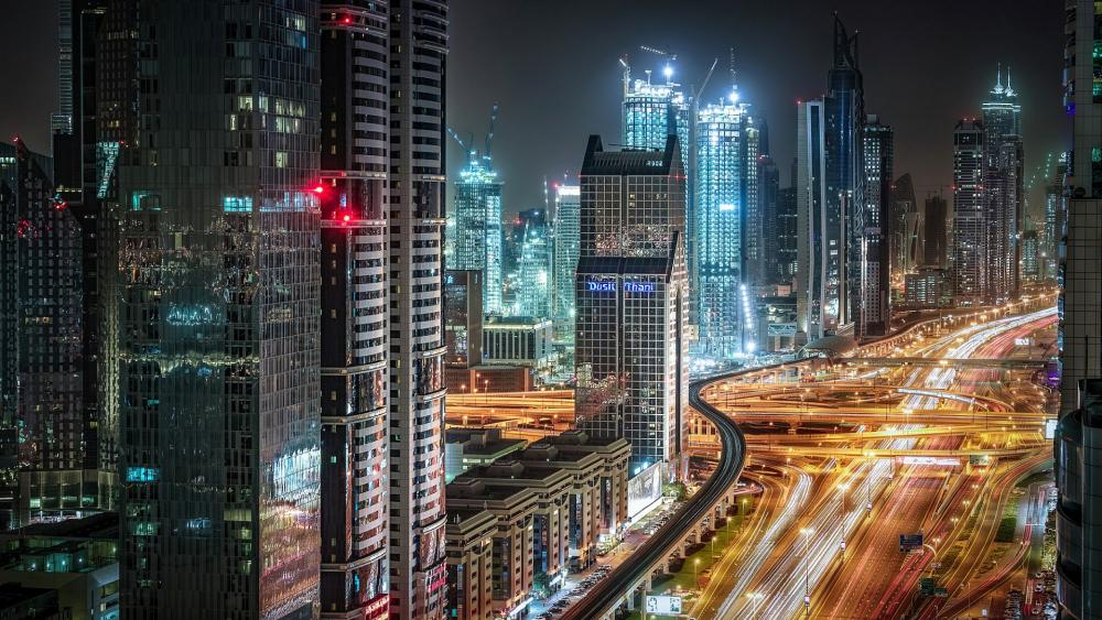 Night lights of Dubai, United Arab Emirates wallpaper