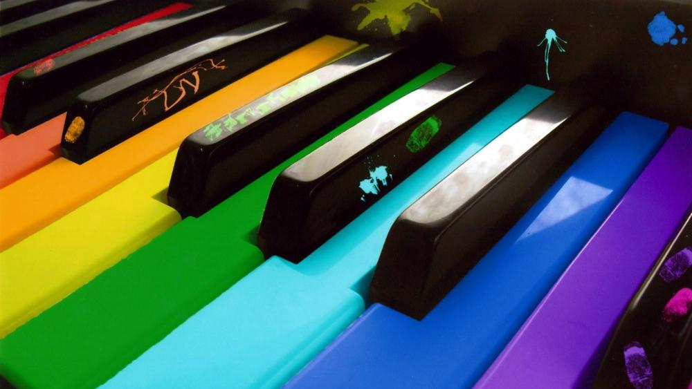 Colorful piano keyboard wallpaper