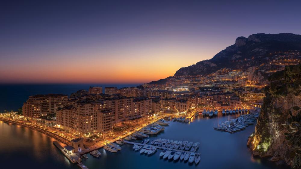 Monte-Carlo cityscape in the sunset wallpaper