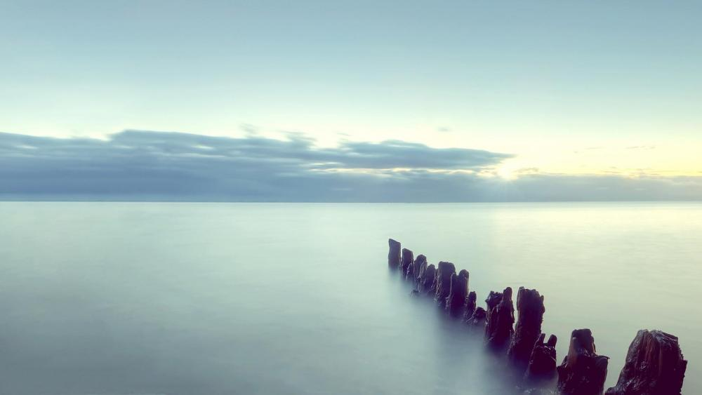 Gloomy morning over the sea wallpaper