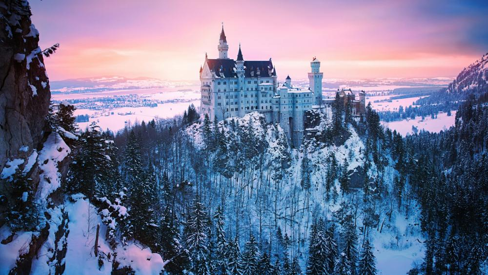 Neuschwanstein Castle in winter -  Bavaria, Germany wallpaper