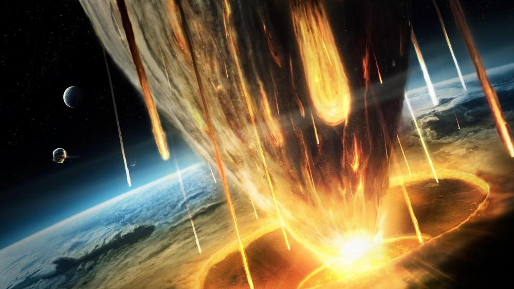 Asteroid impact - Space art wallpaper