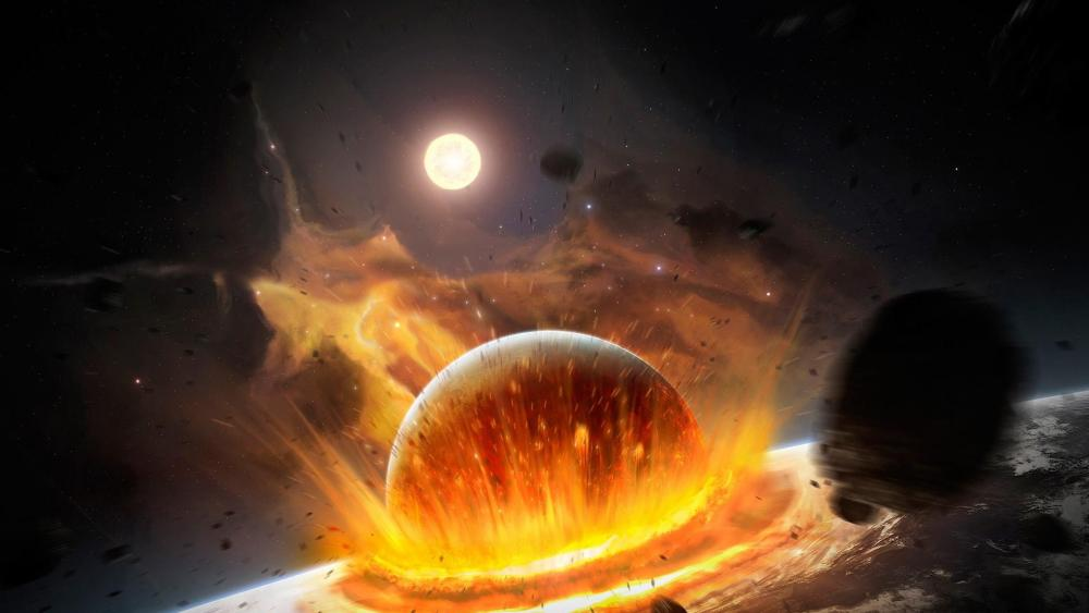 Asteroid collision in the space wallpaper