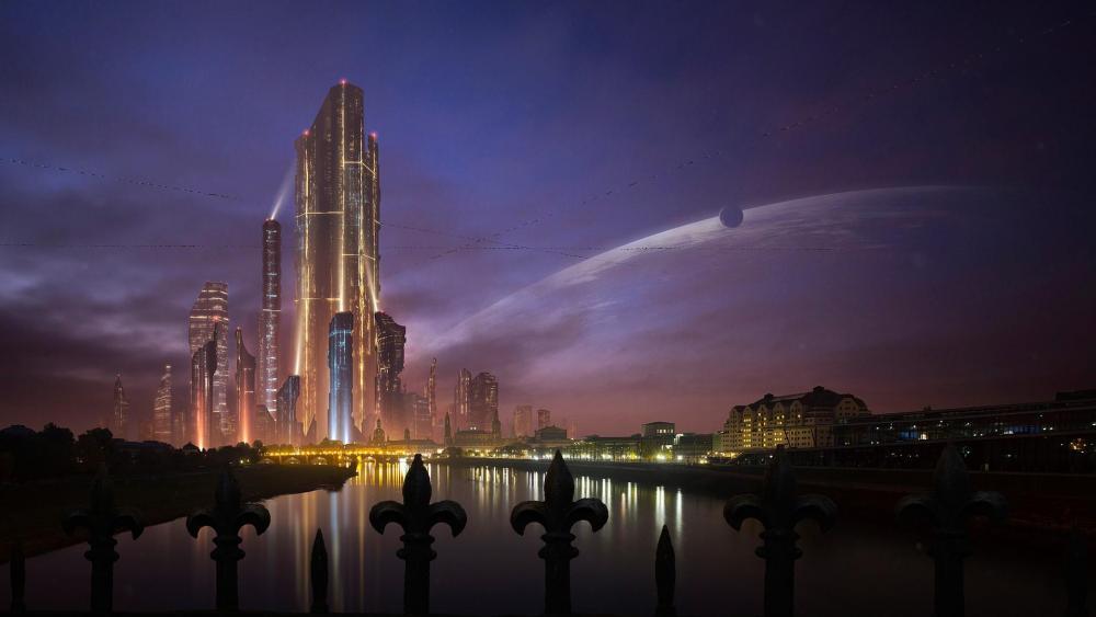 Futuristic megalopolis wallpaper