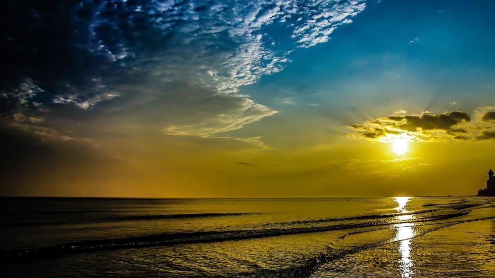Golden sunset over the sea  wallpaper