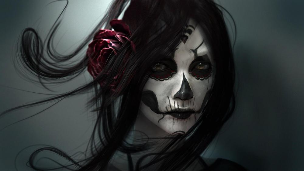 Creepy skull girl - Dia de Los Muertos feast (Day of the Dead) wallpaper