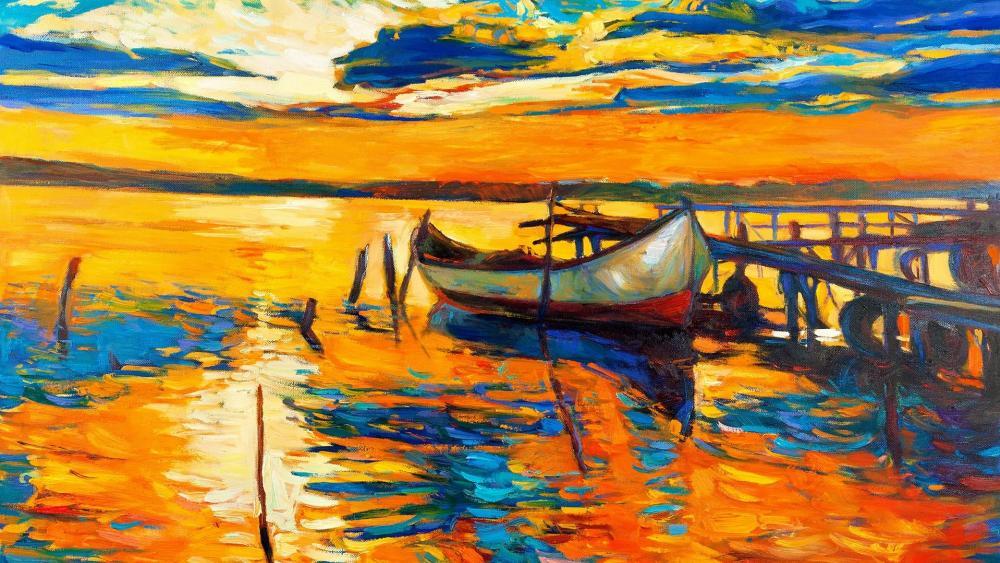 Boat painting wallpaper