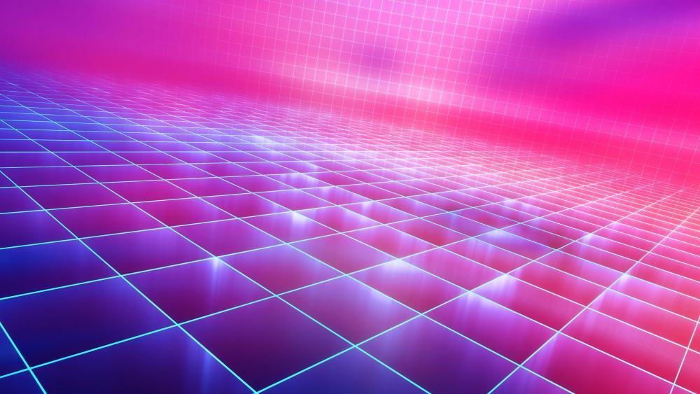 Neon grid - Retrofuture digital art wallpaper