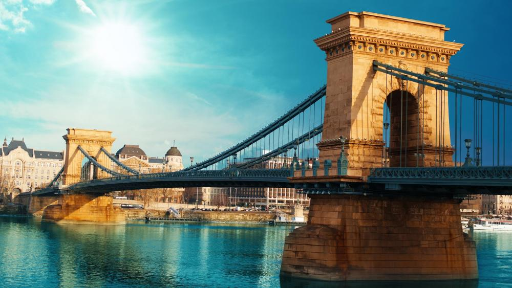 Blue sky above Chain Bridge, Budapest (Hungary) wallpaper