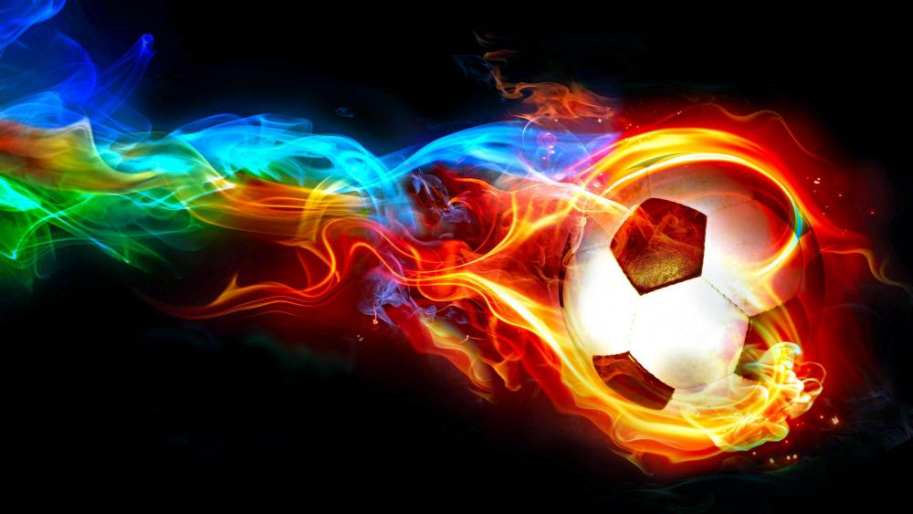 Soccer ball with colorful flame ⚽ wallpaper