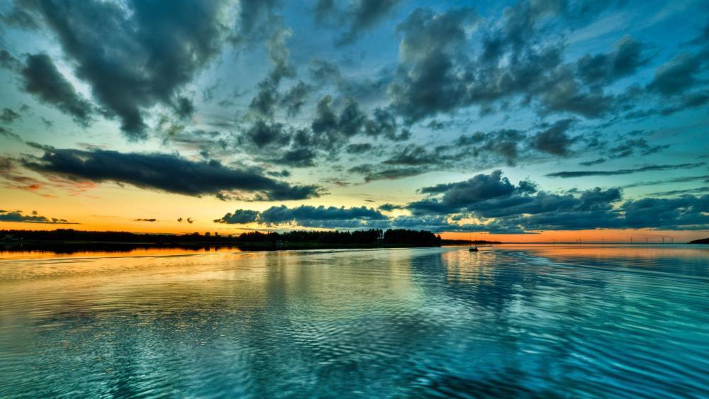 Blue sunset  wallpaper