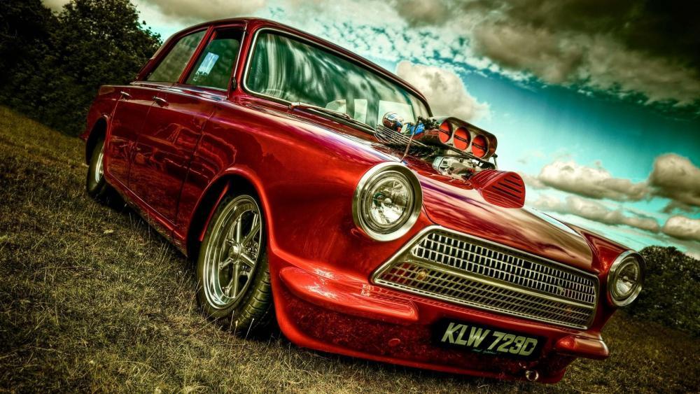 Metallic red Trabant 601 wallpaper