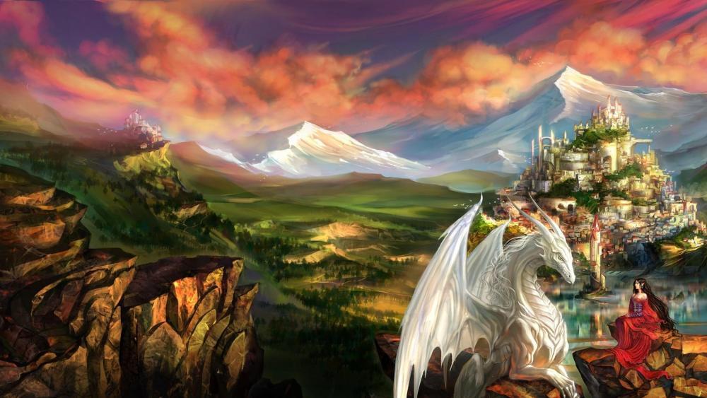 Dragon and elf - Fantasy art wallpaper