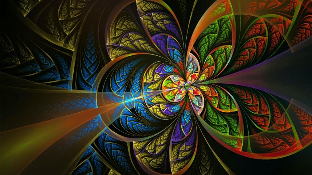 Psychedelic kaleidoscope fractal art wallpaper