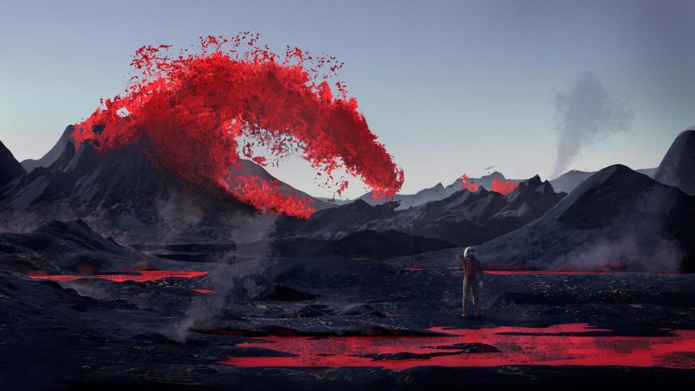 Astronaut and volcanic eruptions wallpaper