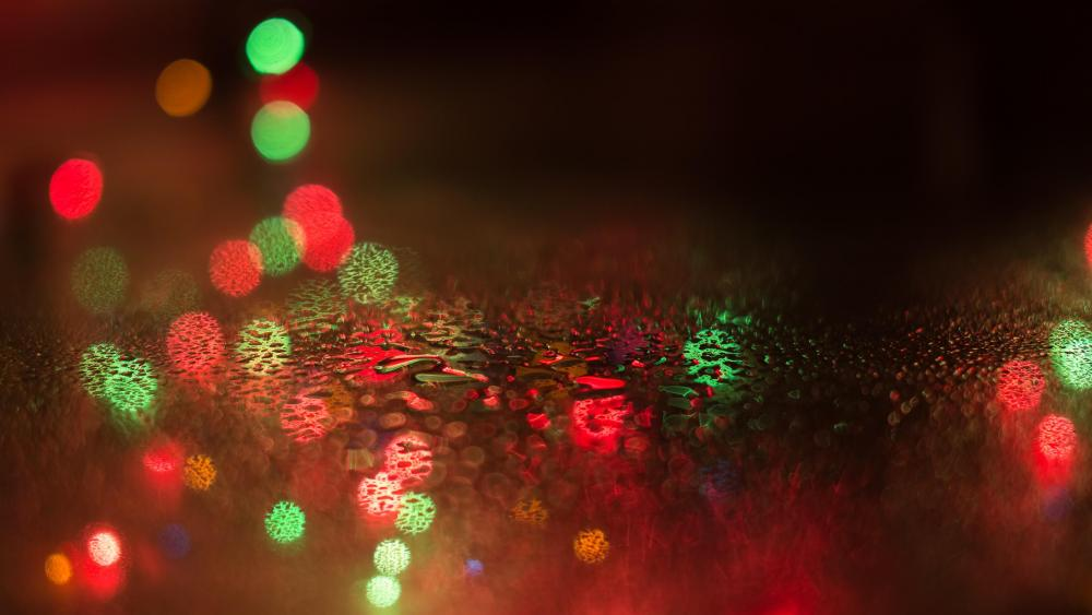 Bokeh lights in the rain wallpaper
