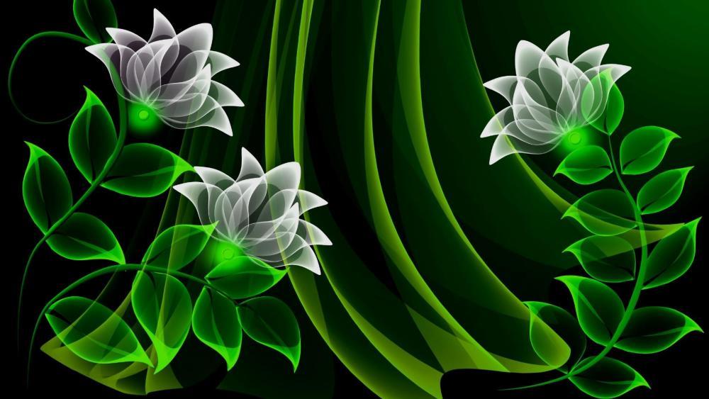 Green neon flowers - Digital Art wallpaper